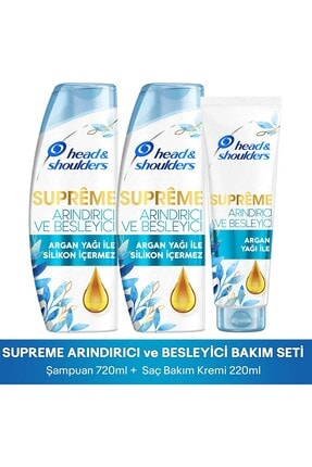 Head&Shoulders Head & ShouldersSupremeArındırıcı Besleyici Argan Yağı Şampuan 360 ml*2 ve Saç Kremi 220 ml