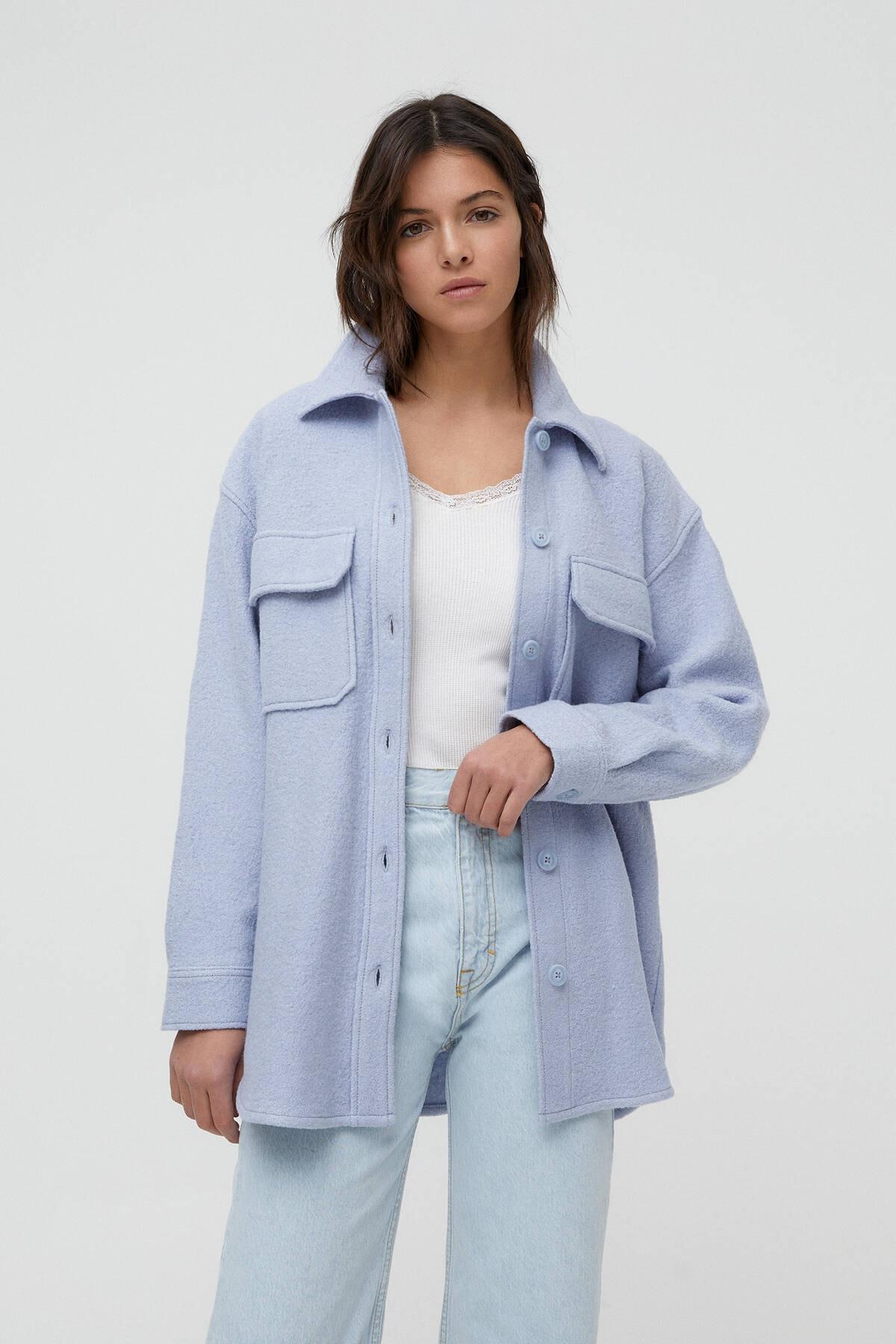 Pull & Bear Kadın Açık Mavi Cepli Dokulu Ince Ceket