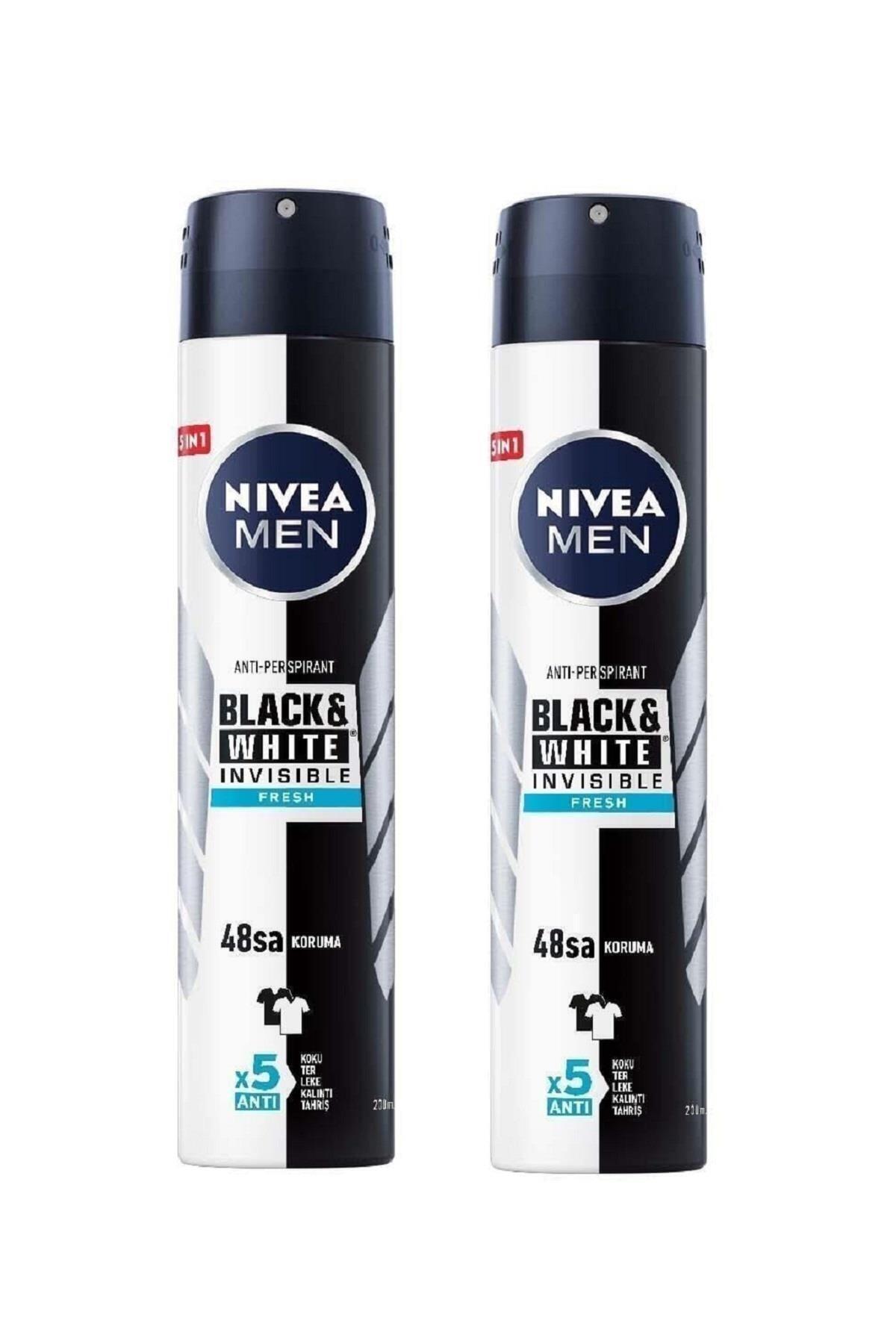 Nivea Men Black & White Invisible Fresh 200 ml Erkek Deodorant 2 Adet 1