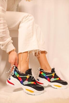 Limoya Kadın Siyah Multi Çift Bağcıklı Sneakers