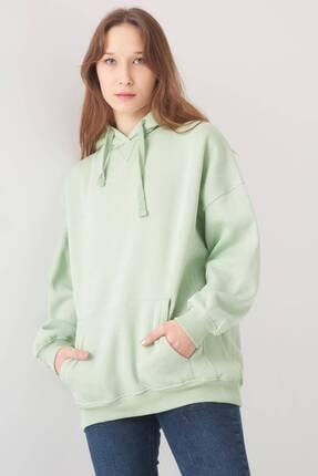 Addax Kadın Mint Kapüşonlu Sweatshirt S0519 - P10V1 Adx-0000014040