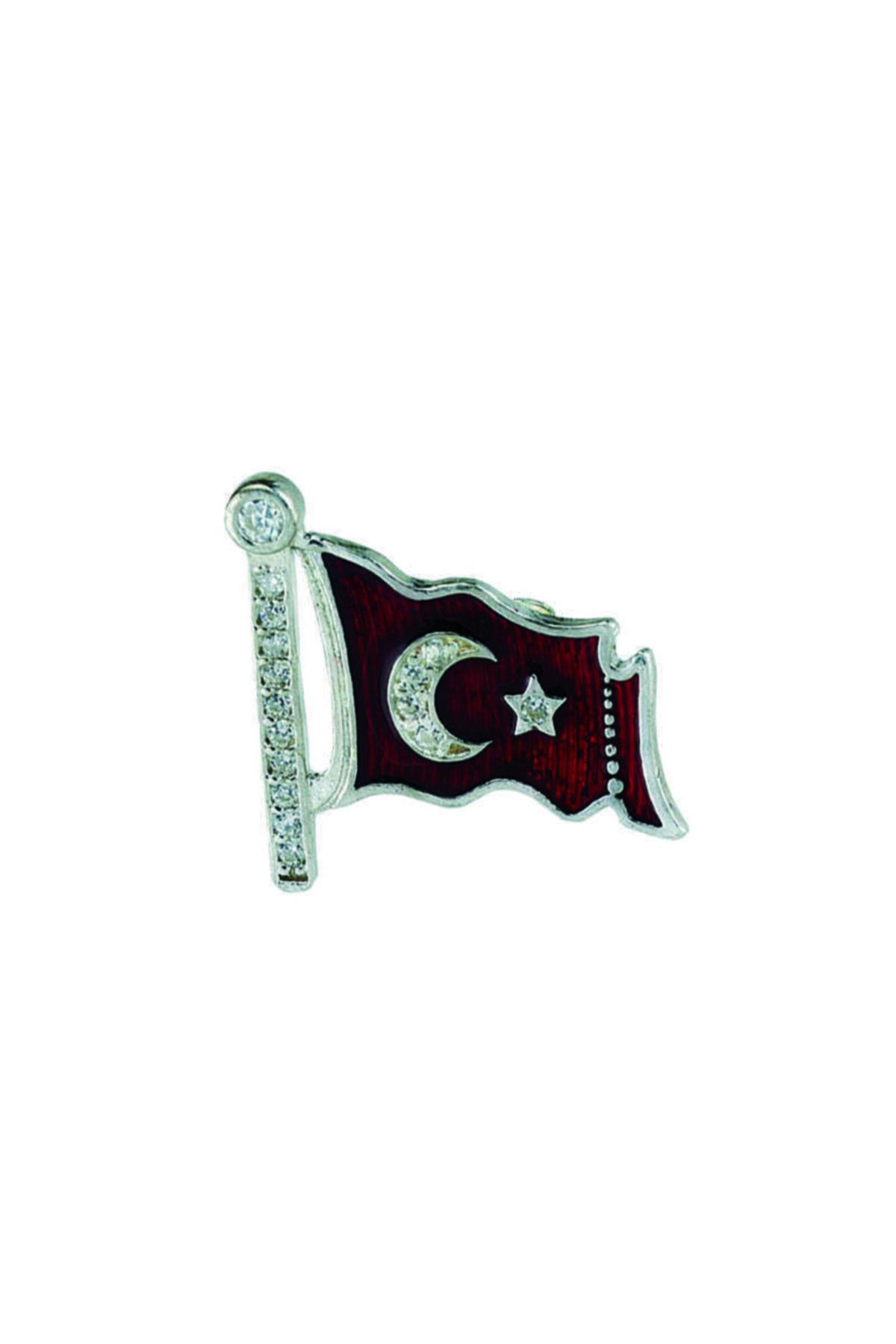 Gumush Unisex Kırmızı Türk Bayrağı Gümüş Rozet 1