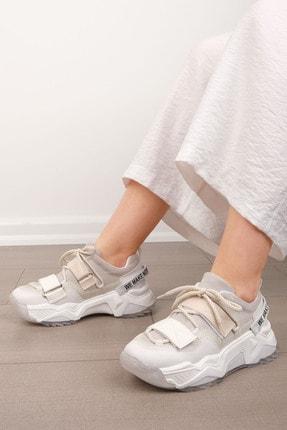 Marjin Kadın Beyaz Sneaker Dolgu Topuklu Spor Ayakkabı Cakir