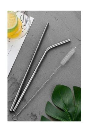 BALSA Paslanmaz Çelik Pipet Seti( 2 Adet Çelik Pipet+pipet Temizleme Fırçası)