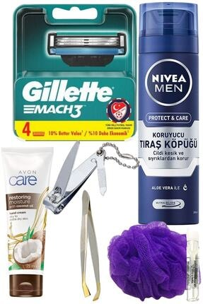 Gillette Mach3 4'lü Yedek Tıraş Bıçağı + Protect & Care Koruyucu Köpük 200 ml 7 Parça