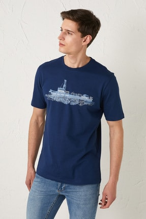 LC Waikiki Erkek Koyu Mavi Classic Tişört