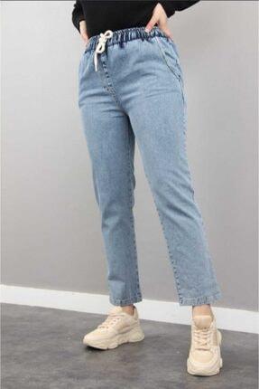 MODAMMOOR Beli Lastikli Denim Kot Pantalon