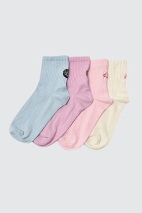 TRENDYOLMİLLA Çok Renkli 4'lü Paket Örme Çorap TWOSS21CO0040