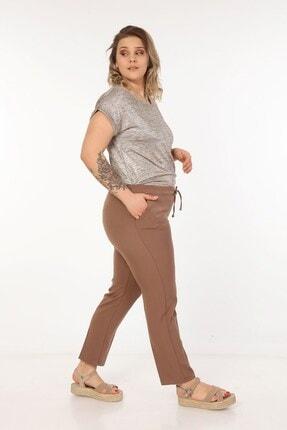 Womenice Kadin Büyük Beden Kahverengi Spor Kesim Kumaş Pantolon