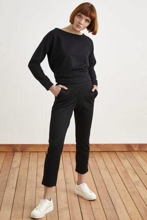 Love My Body Kadın Siyah Arka Beli Lastikli Cepli Örme Pantolon