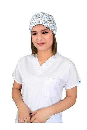 Nur Ortopedi Mavi Beyaz Çiçekli Doktor Hemşire Cerrahi Hastane Aşçı Bonesi