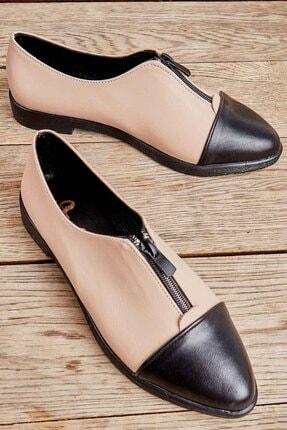 Bambi Siyah Bej Kadın Oxford Ayakkabı K01641160009