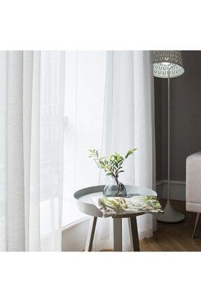 Linen fabric Keten Kullanıma Hazır Düz Ekru Tül Perde