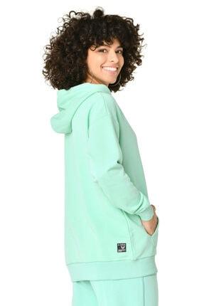 bilcee Yeşil Kadın Kapüşonlu Sweatshırt Gw-8785