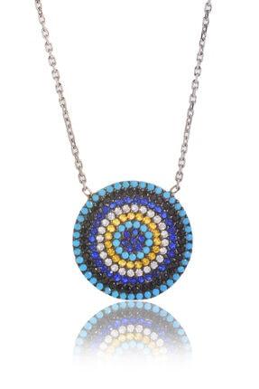 BY BARUN SİLVER Kadın Gümüş Rengi Mozaik Göz Gümüş Kolye