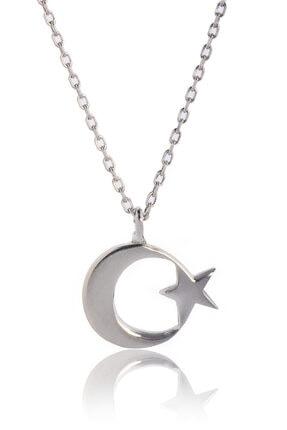 BY BARUN SİLVER Kadın Gümüş Rengi Ay Yıldız Kolye