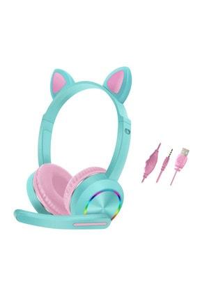 BSD GİFTED Mikrofonlu Gaming Oyuncu Kulaklık Işıklı Kedi Kulaklık Akz-020