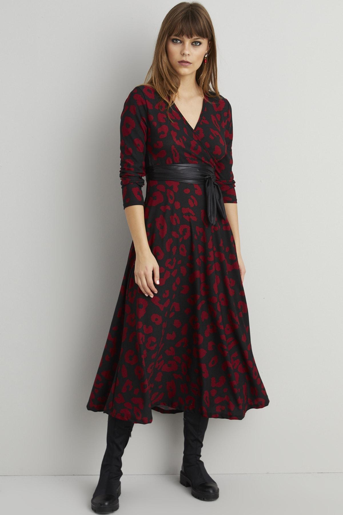 Cool & Sexy Kadın Siyah-Bordo Leopar Desen Kruvaze Maxi Elbise ARZ21 2