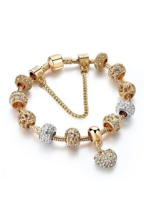 Pandora Model Kalp Figürlü Taşlı Charm 20cm Bayan Bileklik-Gold
