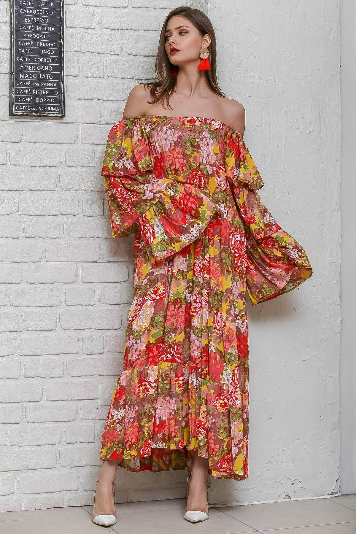 Chiccy Kadın Turuncu Carmen Yaka Gül Ve Ortanca Desenli Kat Kat Kollu Salaş  Dokuma Elbise M10160000EL95918