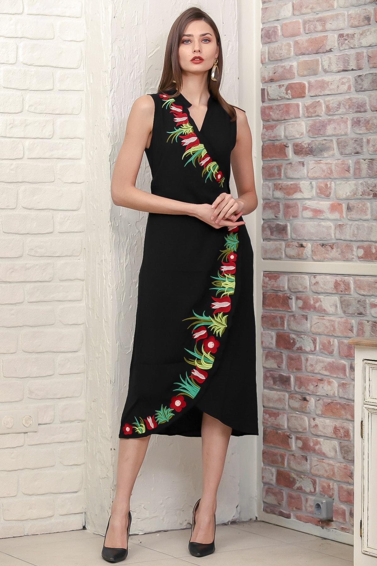 Chiccy Kadın Siyah Kruvaze Lale Nakışlı Ayaklı Yakalı Anvelop Kuşaklı Dokuma Elbise M10160000EL95887