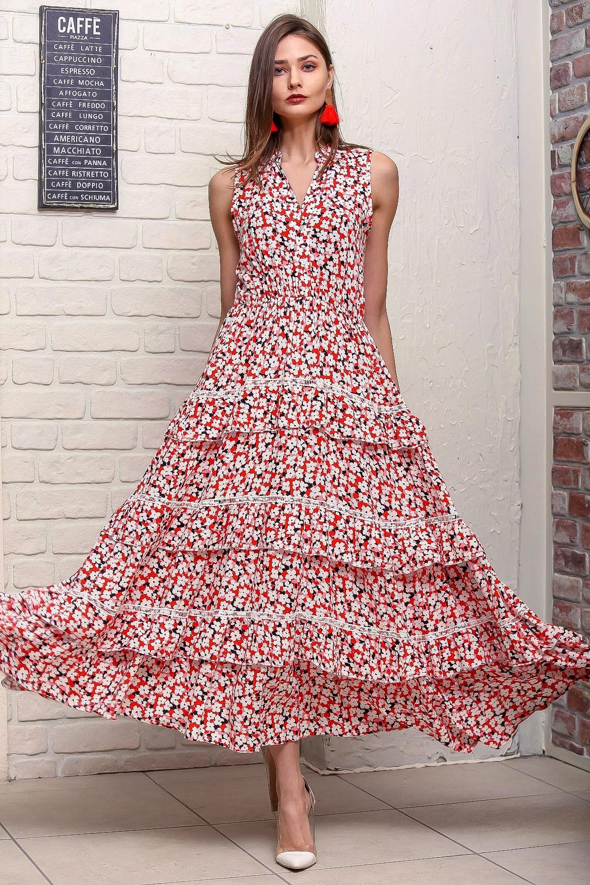 Chiccy Kadın Kırmızı Çıtır Çiçek Desenli Dantel Detaylı Kat Kat Kloş Dokuma Elbise M10160000EL95881