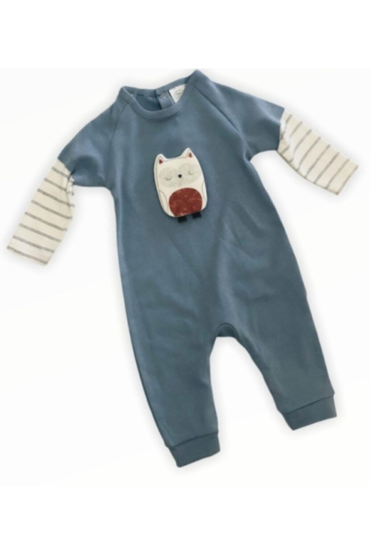 Tongs Baby Unisex Bebek Mavi Baykuşlu Tulum 1