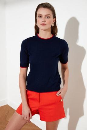 TRENDYOLMİLLA Lacivert Biye Detaylı Triko Bluz TWOAW20KZ0170