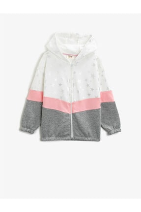 Koton Kız Çocuk Pamuklu Kapüsonlu Baskili Renk Bloklu Fermuarli Sweatshirt