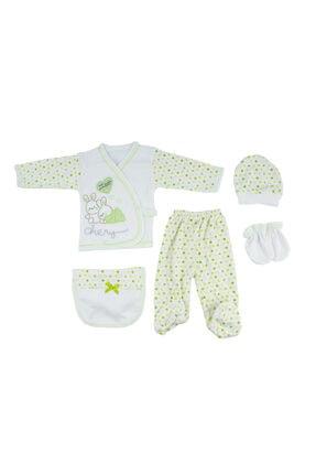 Bambino Yeni Doğan Bebek Yeşil Tavşanlı 5'li Hastane Çıkışı Seti