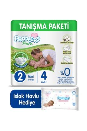 Paddlers Pure Bebek Bezi 2 Numara Mini 4 Adet (3-6 Kg) + 40'lı Islak Havlu