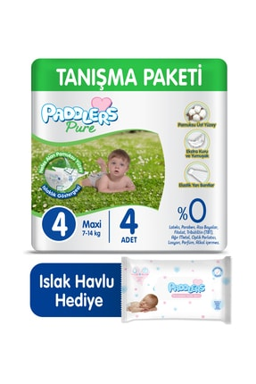 Paddlers Pure Bebek Bezi 4 Numara Maxi 4 Adet (7-14 Kg) + 40'lı Islak Havlu
