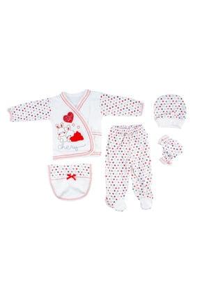 Bambino Yeni Doğan Bebek Kırmızı Tavşanlı 5'li Hastane Çıkışı Seti