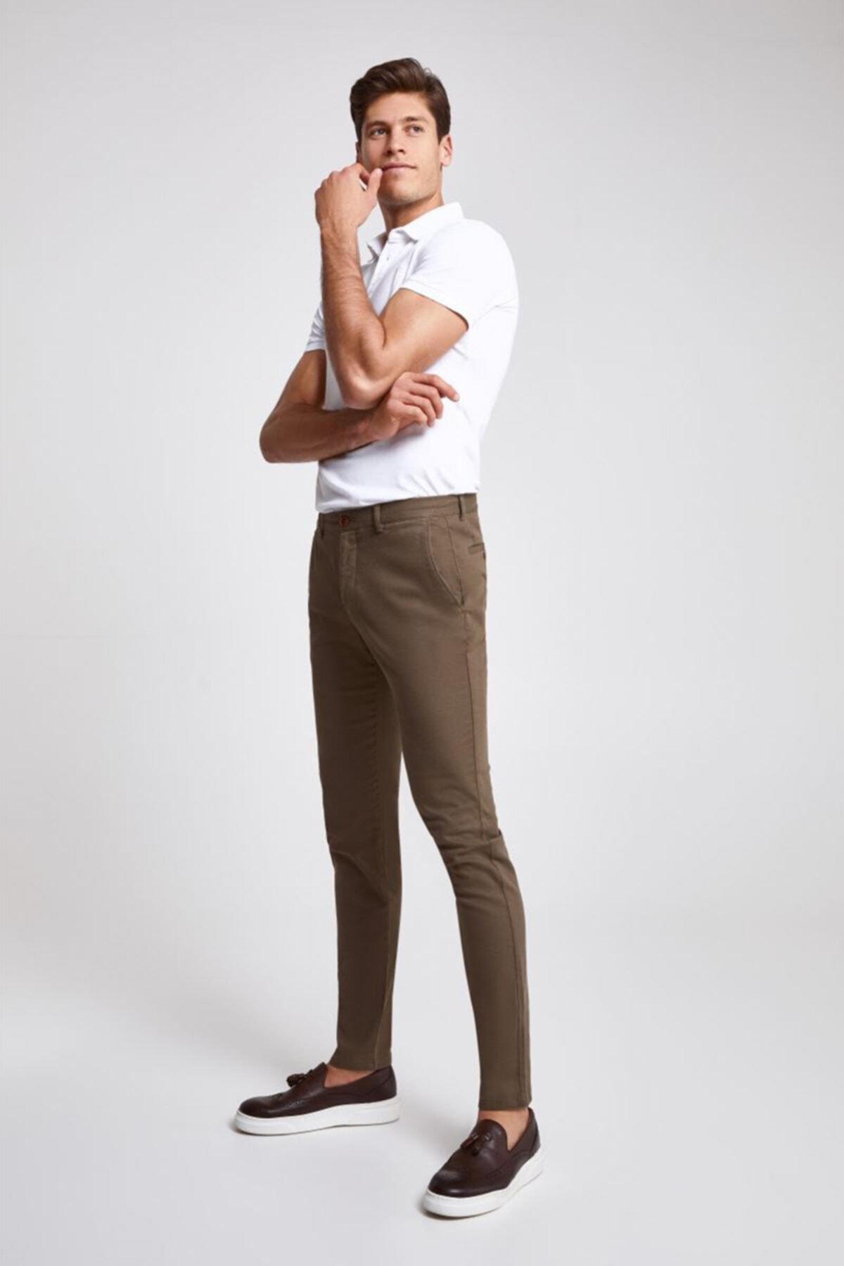 D'S Damat Twn Slim Fit Bej Çizgili Chino Pantolon 1
