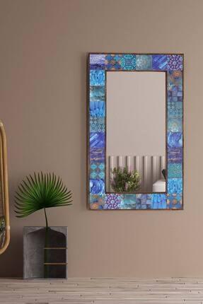bluecape Amalfi Doğal Ağaç Çerçeveli Antik Limra Taş Kaplı Salon Duvar Konsol Boy Aynası 62x102 Cm