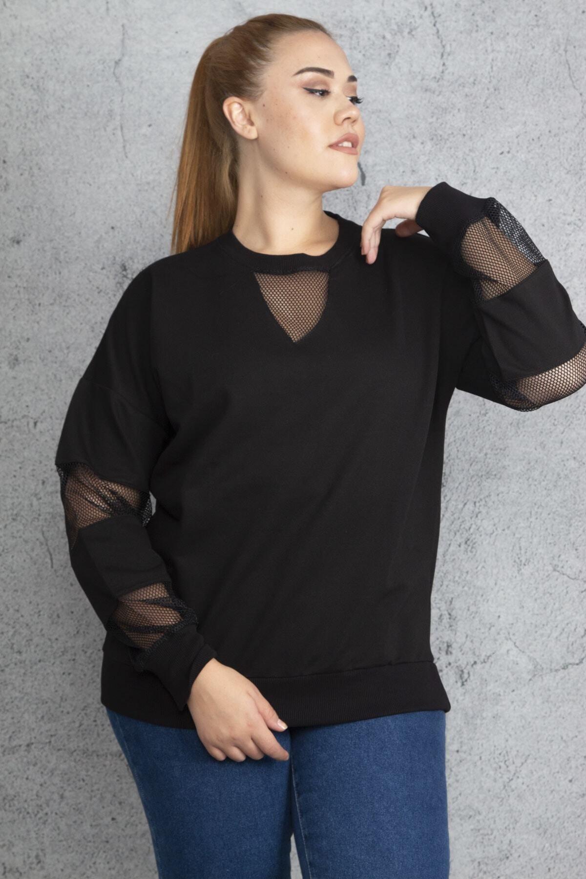 Şans Kadın Siyah Filedetaylı Sweatshirt 65N18844 1