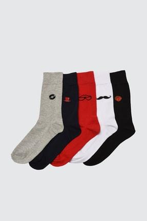 TRENDYOL MAN Çok Renkli Erkek 5'li Paket Desenli Soket Çorap TMNSS20CO0027