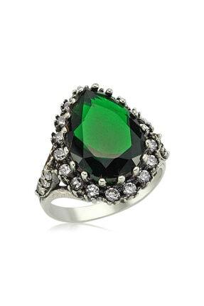 Gumush Kadın Yeşil Taşlı Gümüş Hürrem Sultan Yüzük