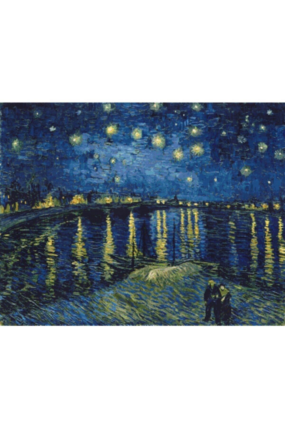 MOVAS Sanat Rhone Üzerinde Yıldızlı Gece Vincent Van Gogh Elmas Mozaik Tablo/puzzle 50x39cm E2020409 1