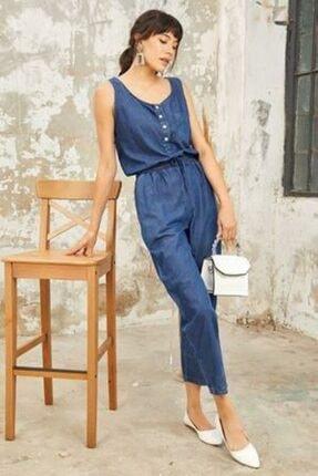 Fuar Cebinizde Kadın Mavi Jean Tulum