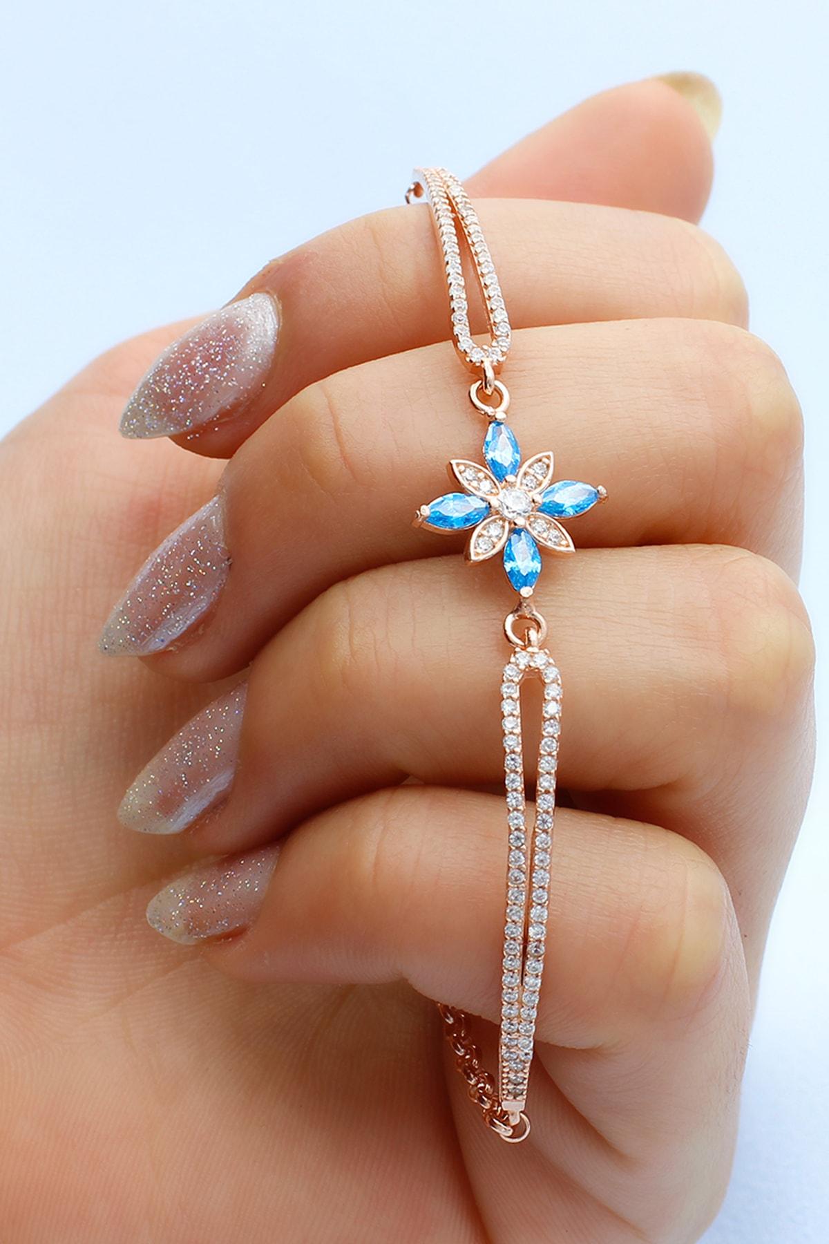 Else Silver Kadın Rose Taşlı Umut Çiçeği Kelepçe Modeli Gümüş Bileklik 2