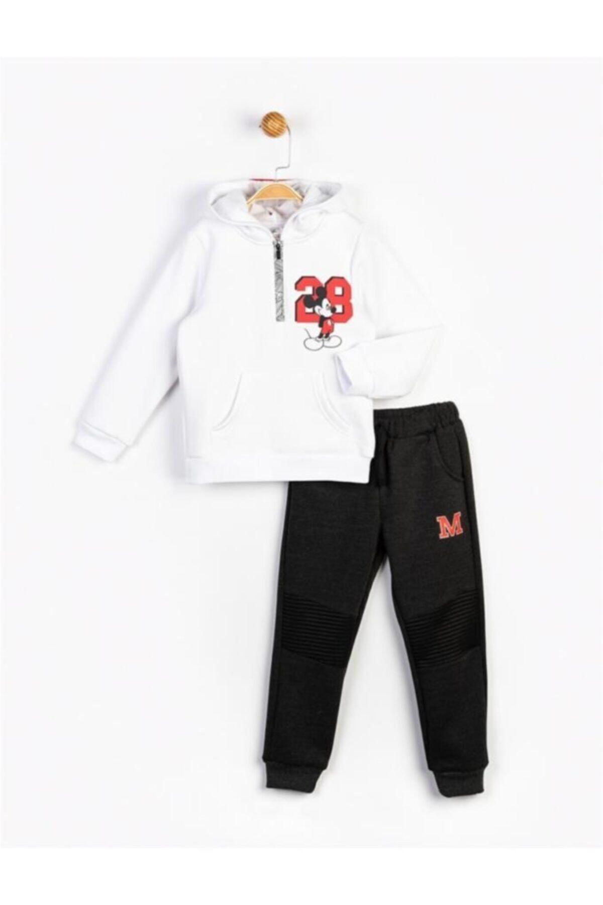 Mickey Mouse Erkek Çocuk Beyaz Mickey Kapüşonlu Takım 16247 1
