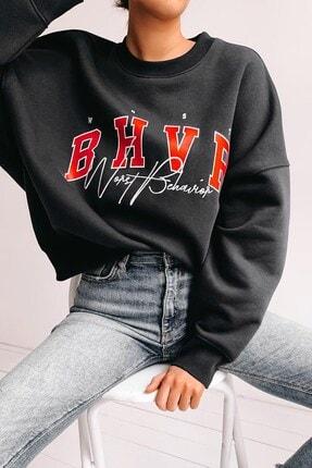 Madmext Kadın Mad Girls Siyah Nakışlı Sweatshirt Mg813