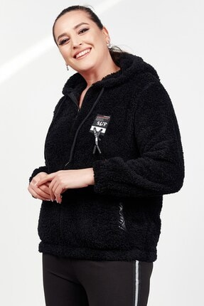Womenice Kadın Siyah Cepli Sweatshirt