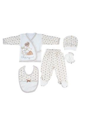 Bambino Bebek Kahverengi Yeni Doğan Tavşanlı 5'li Hastane Çıkışı Seti