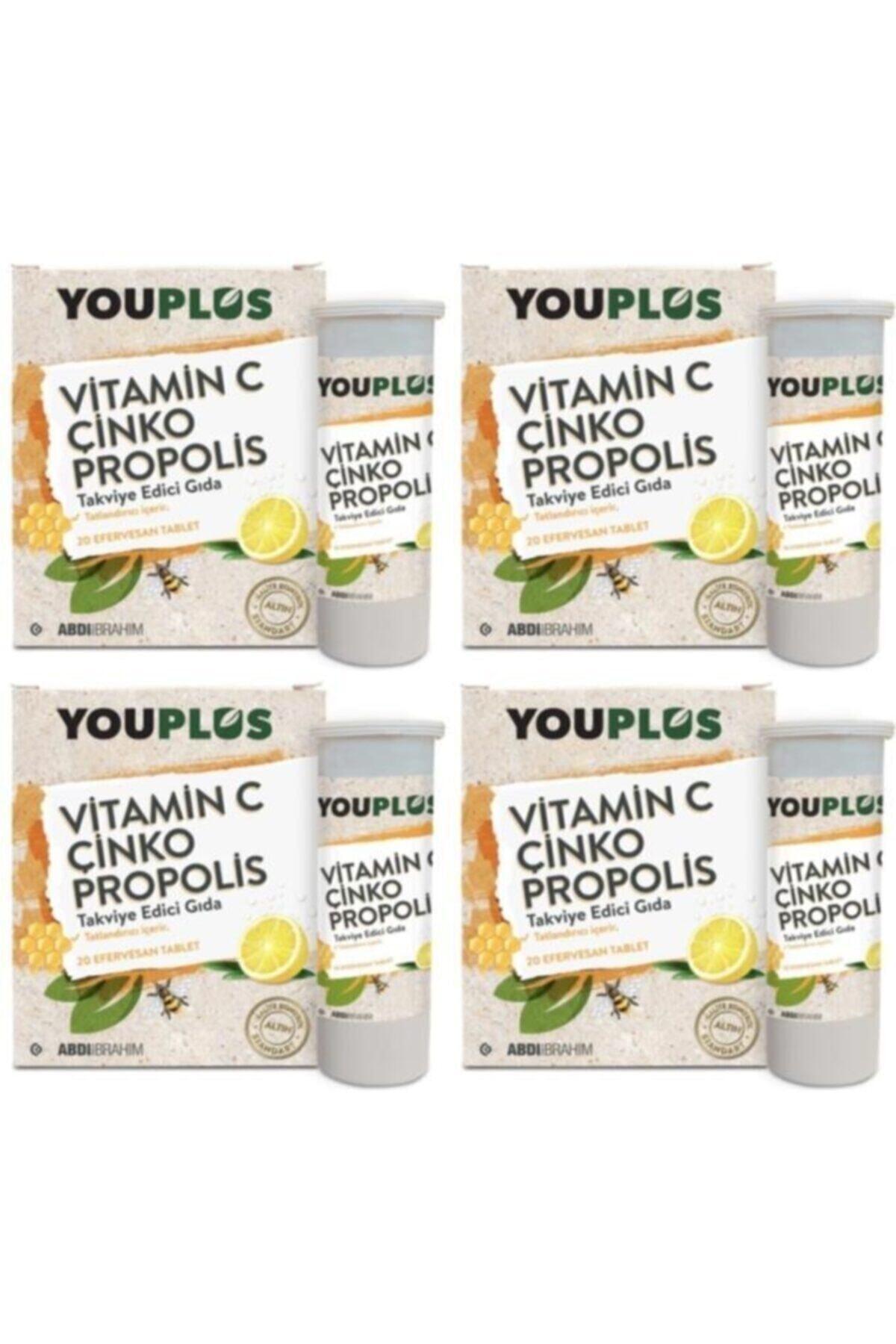 Youplus C Çinko Propolis 20 Efervesan Tablet 4'lü Vitamin 1