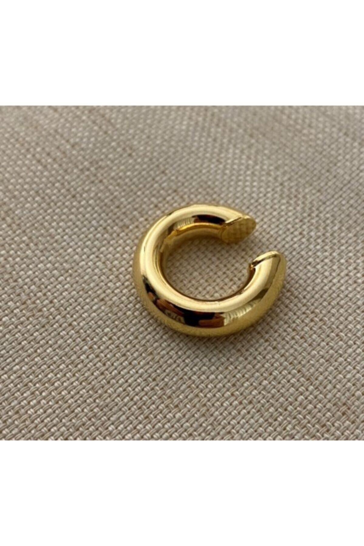 Markiz Takı Kadın Gold Renk Kalın Boru Kıkırdak Küpe 1