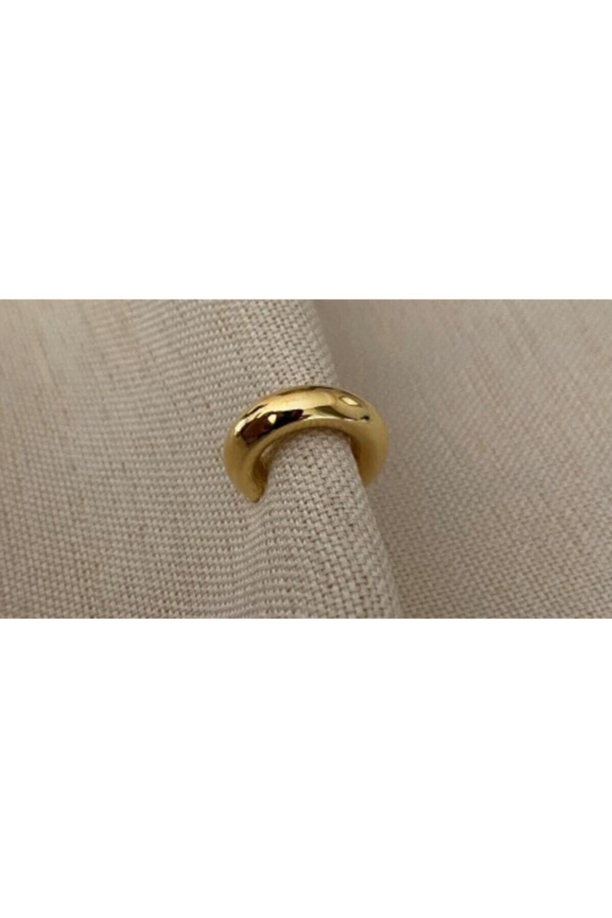 Markiz Takı Kadın Gold Renk Kalın Boru Kıkırdak Küpe 2