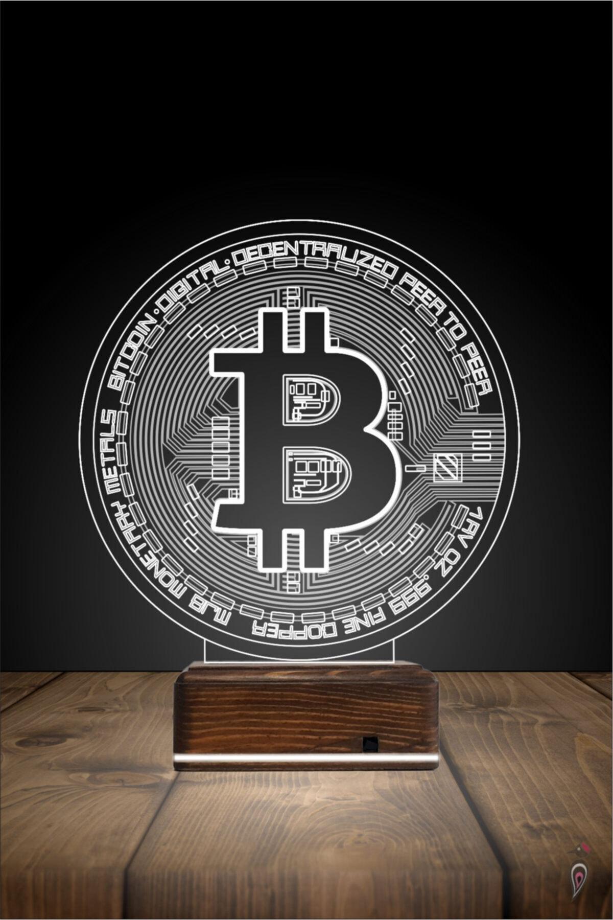 TahtaModa 3d Ilüzyon Led Lamba 16 Renk Bitcoin Btc Kripto Para Tasarım 2