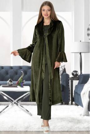 By Mecit Pijama Mecit 5357 Yeşil Kadife Sabahlıklı Lohusa Pijama Takımı